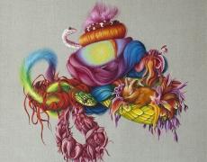 Ewa Pronczuk-Kuziak, Snakes, The Still Life series,oil on linen, 60x60 cm, 2015
